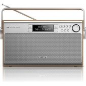 Philips tragbares Radio AE5220/12, DAB+/FM, Stereo 20 Presets, Low battery indicator, Holz, Silver