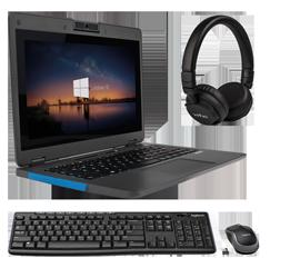 Notebook + Tastatur + Headset