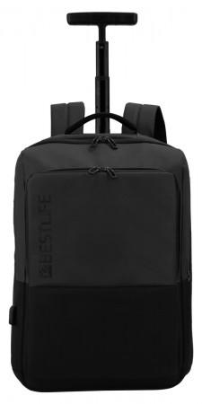 BESTLIFE Neoton Business Trolley Rucksack für Laptop USB schwarz