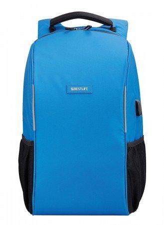 BESTLIFE Relleu TravelSafe Rucksack für Laptop bis 15,6 Zoll USB blau