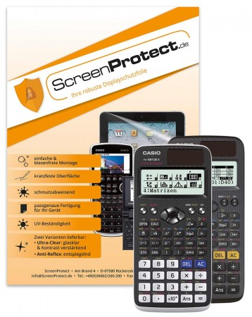 ScreenProtect Displayschutzfolie UltraClear für FX-87/FX-991/FX-82/FX-85 DE X (Folie+Microfasertuch)