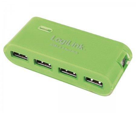 LogiLink USB 4-Port Hub - grün - mit Netzteil mit 4 USB 2.0-Anschlüssen