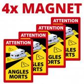 Angles Morts - Toter Winkel - Schild magnetisch A5 4 Stück, Hinweisschild im Wohnmobil- Design