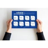 Hinweisschild für allgemeine Händewasch-Regeln A4 die 8 wichtigsten Regeln zum Händewaschen, sk