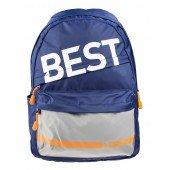 BestLife Schulrucksack für Laptop und Tablet bis 15,6 Zoll Smartphonefach blau / grau / orange