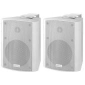 MONACOR MKA-50SET/WS Aktives 2-Wege-Stereo-Lautsprecherboxen-System, 2 x 20 W
