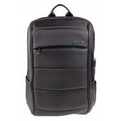 BESTLIFE Batoh TravelSafe Rucksack für Laptop bis 15,6 Zoll USB schwarz/blau