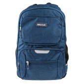 BestLife Schulrucksack für Laptop und Tablet bis 15,6 Zoll Smartphonefach blau / schwarz