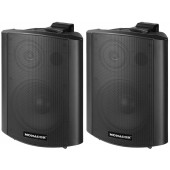 MONACOR MKA-60SET/SW Aktives 2-Wege-Stereo-Lautsprecherboxen-System, 2 x 15 W
