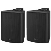 MONACOR MKA-50SET/SW Aktives 2-Wege-Stereo-Lautsprecherboxen-System, 2 x 20 W