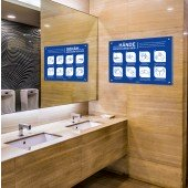 Hinweisschild für allgemeine Händewasch-Regeln A2 die 8 wichtigsten Regeln zum Händewaschen, alu
