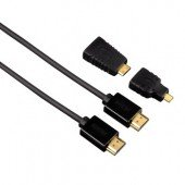 Hama High Speed HDMI-Kabel Stecker-Stecker, 1,5m + 2 HDMI Adaper (Mini+Micro), Ethernet, geschirmt