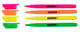 Kores High Liner 4er Set Textmarker in grün, pink, gelb und orange