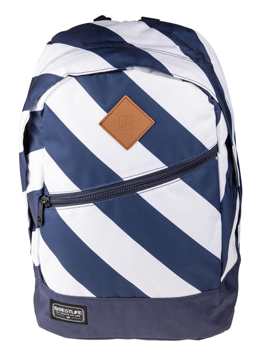 BestLife Schulrucksack für Laptop und Tablet bis 15,6 Zoll Smartphonefach weiß /blau
