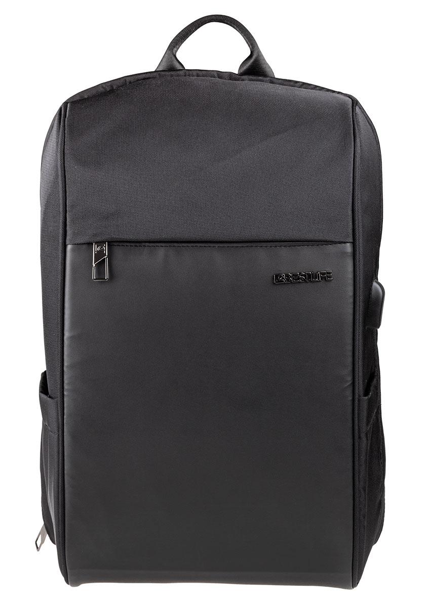 BESTLIFE Relleu TravelSafe Rucksack für Laptop bis 15,6 Zoll USB schwarz