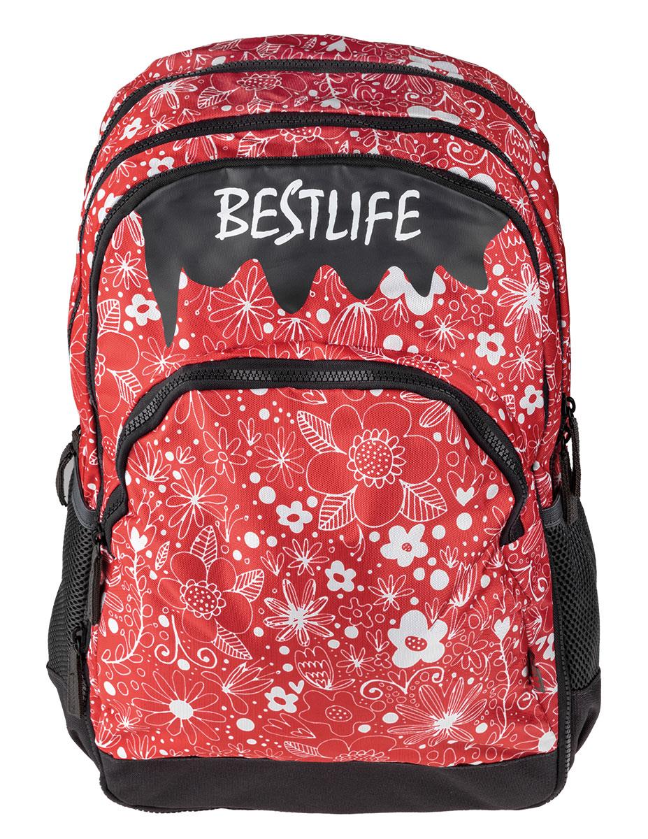 BestLife Schulrucksack für Laptop und Tablet bis 15,6 Zoll Smartphonefach Blumen rot / schwarz